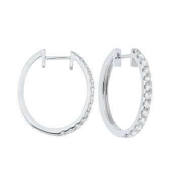 Prong Set Diamond Hoop Earrings in 14K White Gold (1 ct. tw.) SI2 - G/H