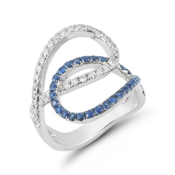 14K Open design Diamond & Sapphire ring