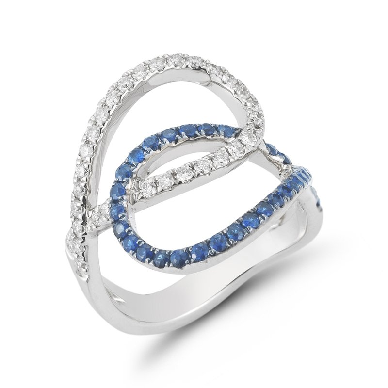 Shula NY 14K Open design Diamond & Sapphire ring