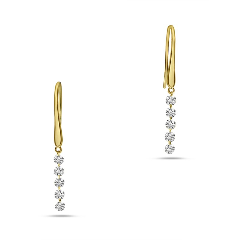 14K Yellow Gold Five-Stone Dangle Diamond Earrings