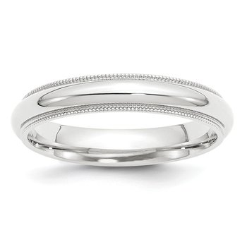 Platinum 4mm Comfort-Fit Milgrain Size 10 Wedding Band