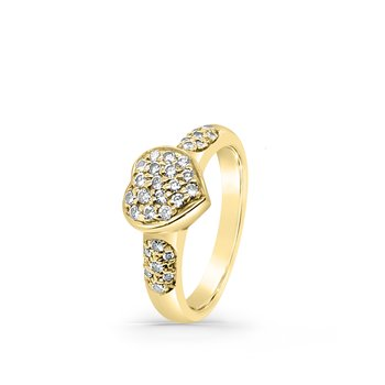 18K Yellow Gold Diamond Heart Fashion Ring