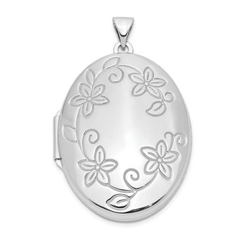 Sterling Silver Rhodium-plated 32mm Floral Oval Locket
