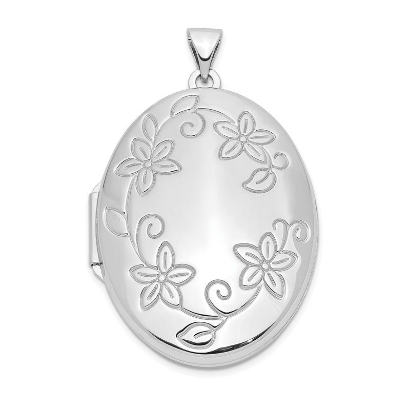 Quality Gold Sterling Silver Rhodium-plated 32mm Floral Oval Locket