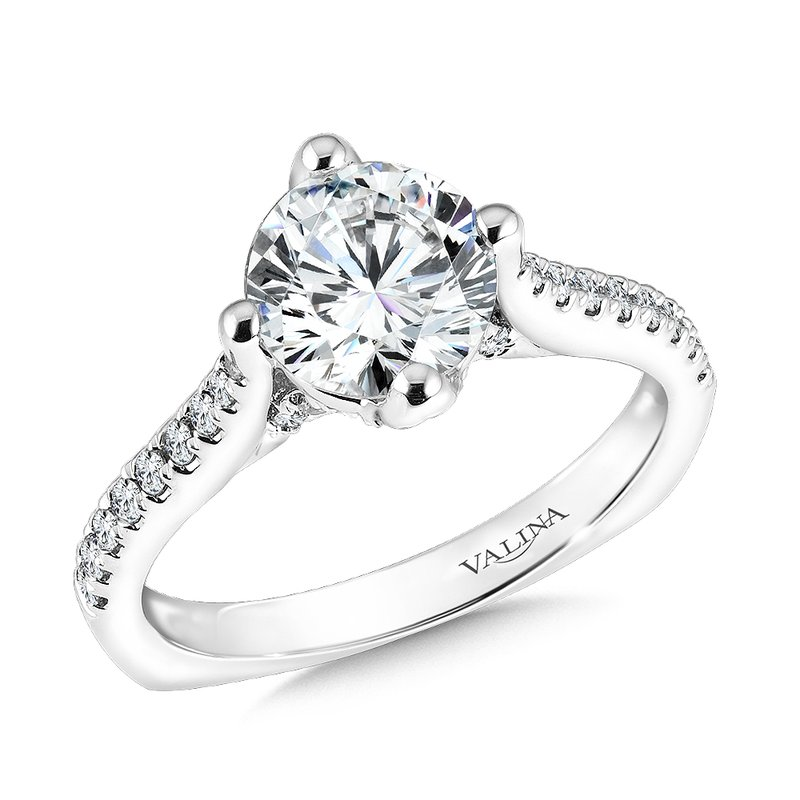 Valina Bridals Mounting with side stones .28 ct. tw., 1 1/2 ct. round center.