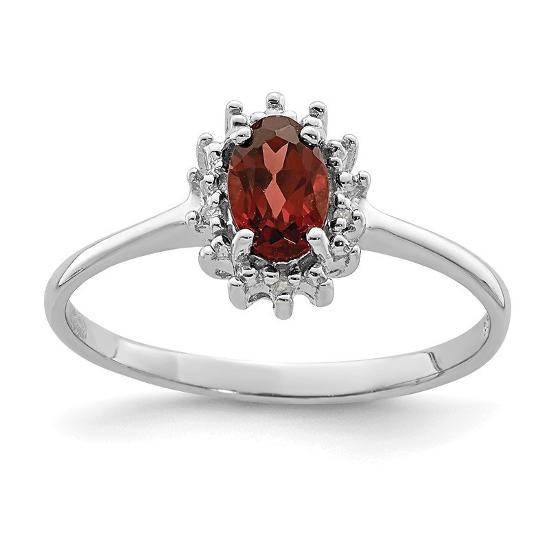 Quality Gold Sterling Silver Rhodium-plated Garnet Diamond Ring