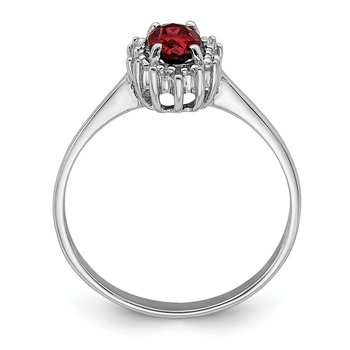 Sterling Silver Rhodium-plated Garnet Diamond Ring