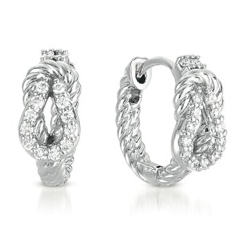 White Gold Love Knot Rope Hoop