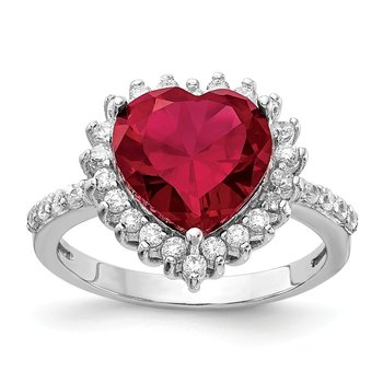 Cheryl M Sterling Silver 100-facet Lab created Ruby & CZ Heart Ring