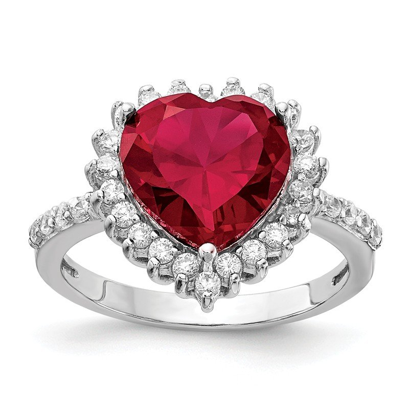 Cheryl M Cheryl M Sterling Silver 100-facet Lab created Ruby & CZ Heart Ring