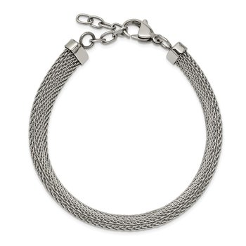 Stainless Steel Polished Mesh 7.5in w/1.25in Bracelet