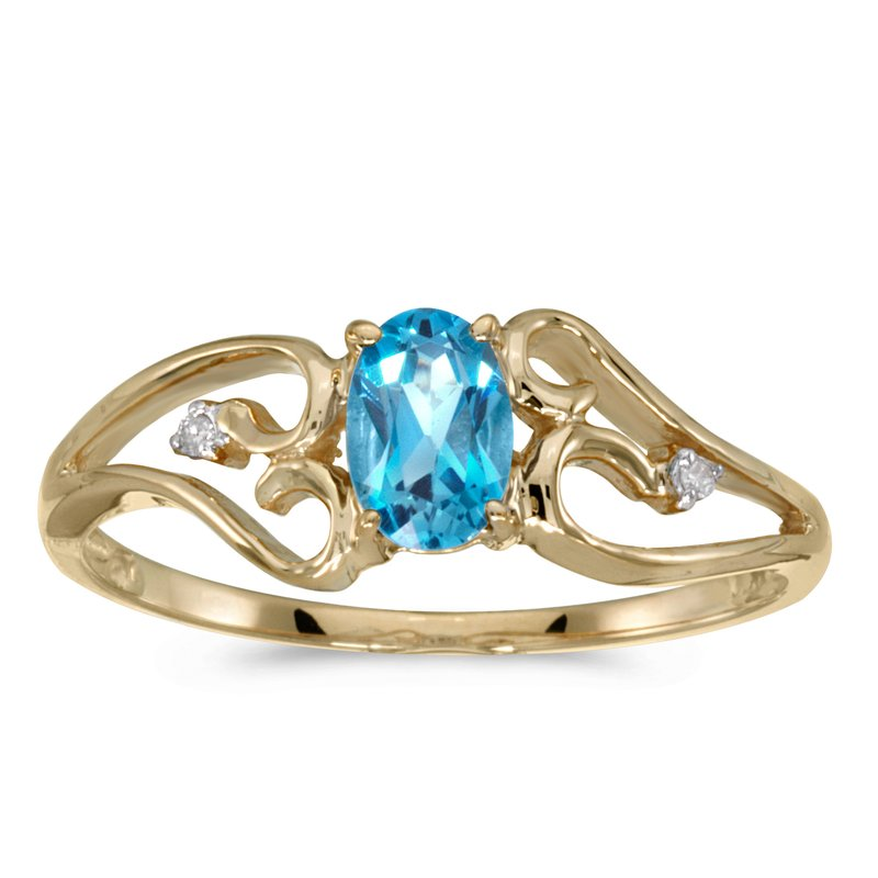 Color Merchants 10k Yellow Gold Oval Blue Topaz And Diamond Ring