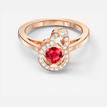 Full Blessing Hulu Ring, Red, Rose-gold tone plated