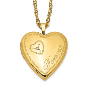 1/20 Gold Filled 20mm Diamond in Heart Forever Heart Locket Necklace