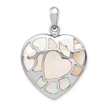 Sterling Silver Rhodium-plated Mother of Pearl Ash Holder Pendant