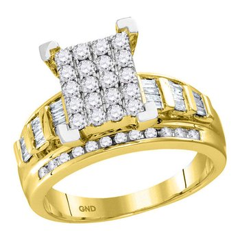10kt Yellow Gold Womens Round Diamond Cindys Dream Cluster Bridal Wedding Engagement Ring 1-1/2 Cttw