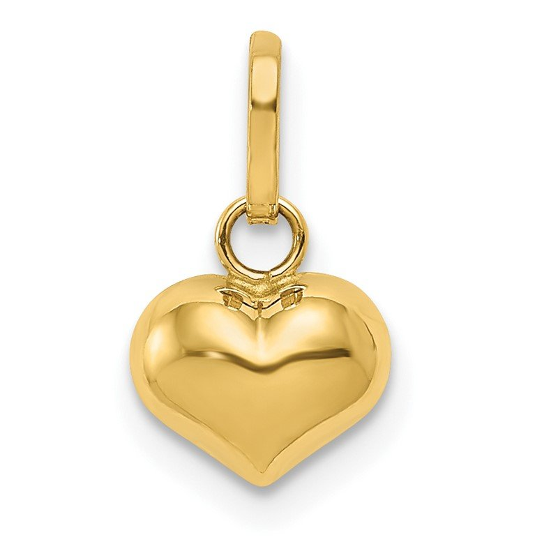 Quality Gold 14K Polished 3-D Puffed Heart Charm