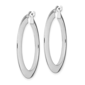 Sterling Silver Rhodium-plated Polished 2mm Hoop Earrings