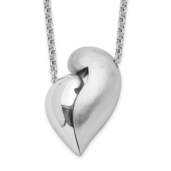 Sterling Silver Polished & Satin Magnetic Heart Adjustable Necklace