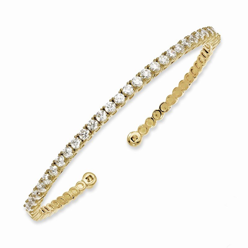 Lester Martin Online Collection Sterling Silver Gold-tone 30 Stone CZ Cuff Bracelet