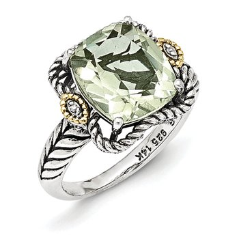 Sterling Silver w/14k Antiqued Green Quartz and Diamond Ring