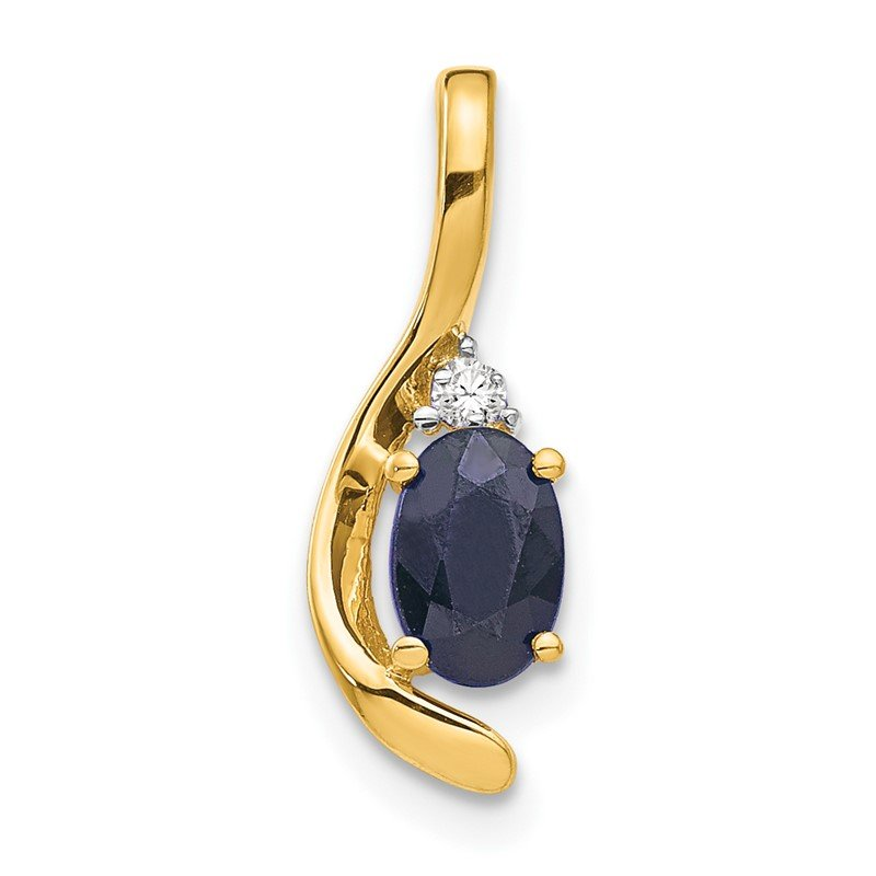 Quality Gold 14k Sapphire and Diamond Pendant
