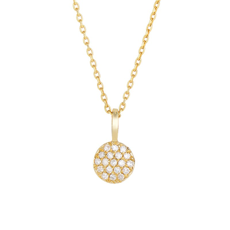 Royal Chain 14K Gold .10ct Diamond Pave Circle Necklace