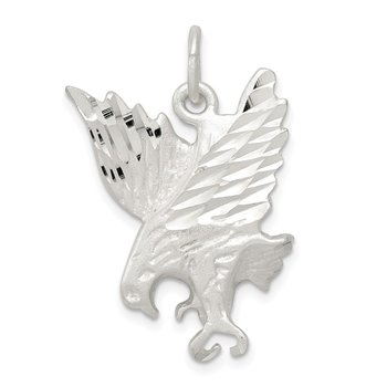 Sterling Silver Diamond Cut Eagle Charm