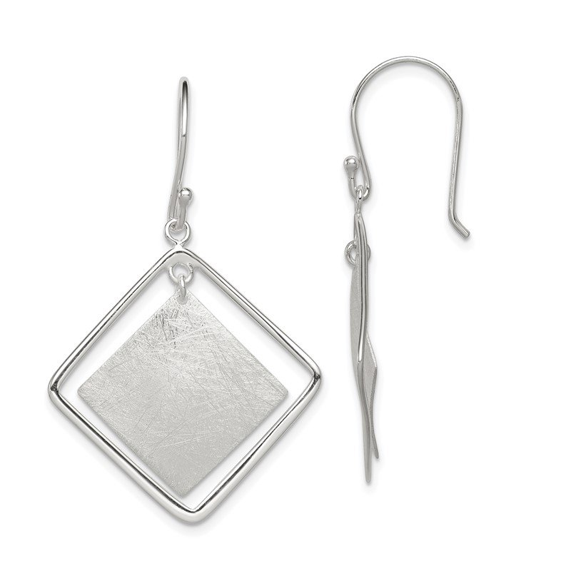 Quality Gold Sterling Silver Polished and Textured Squares Dangle Earrings