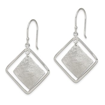 Sterling Silver Polished and Textured Squares Dangle Earrings