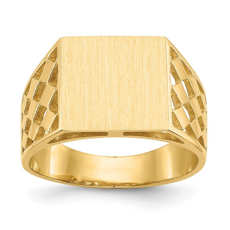 Quality Gold 14k 12.0x12.5mm Open Back Men's Signet Ring