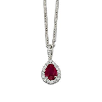 Pear Shape Ruby and Diamond Halo Pendant