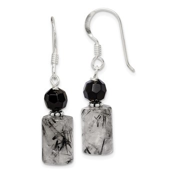Sterling Silver Black Crystal and Tourmalinated Quartz Earrings