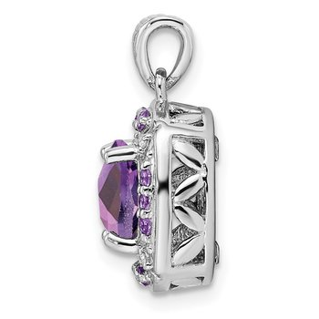 Sterling Silver Rhodium-plated Diamond & Amethyst Square Pendant