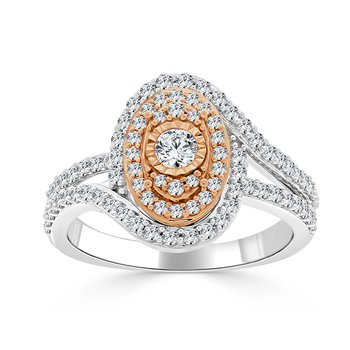14 KT Two tone Round composite Engagement ring (1.00 CTW)