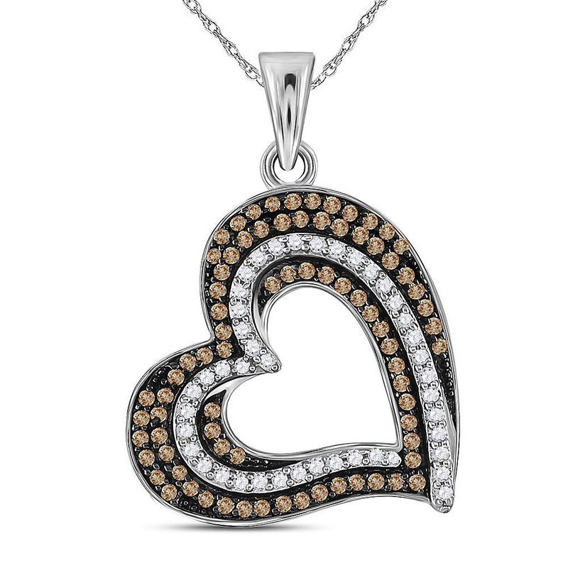 Kingdom Treasures 10kt White Gold Womens Round Brown Color Enhanced Diamond Heart Pendant 3/8 Cttw