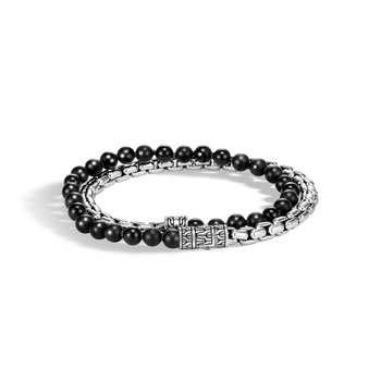 Classic Chain Wrap Bracelet in Silver with Gemstone