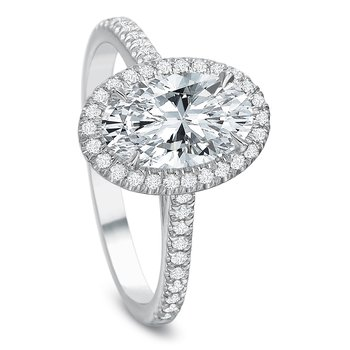 18K White Gold  halo semi mount for 1.00 ct oval shape center