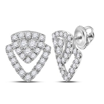 14kt White Gold Womens Round Diamond Triangle Stud Earrings 1/3 Cttw