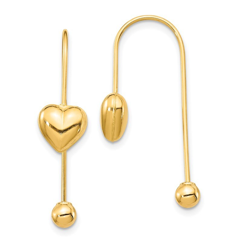 Quality Gold 14K Puffed Heart w/Screw End Threader Earrings