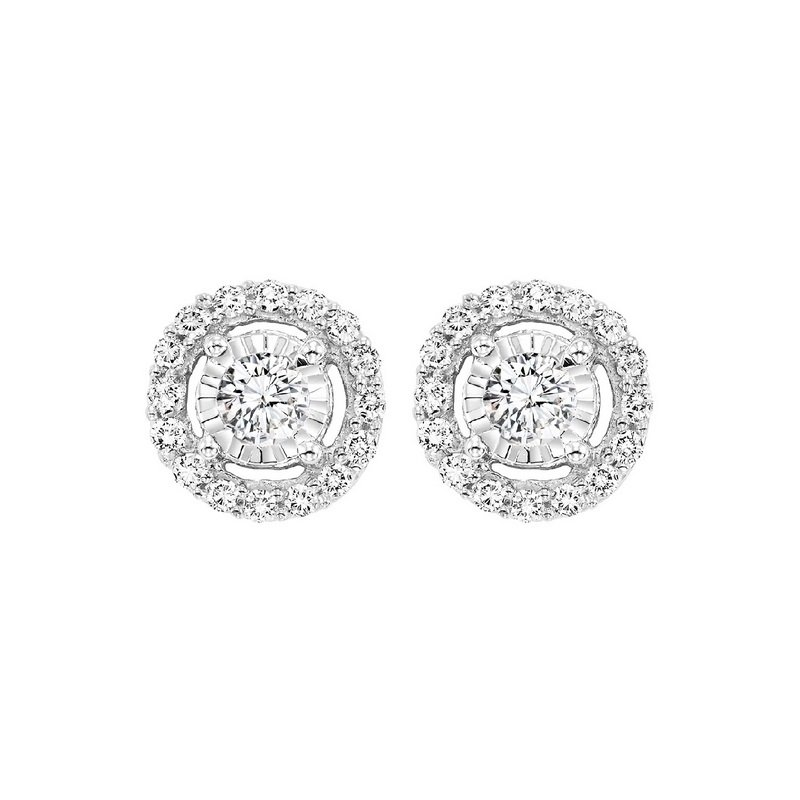 Gems One Diamond Solitaire Starburst Stud Earrings in 14k White Gold (1/10ctw)