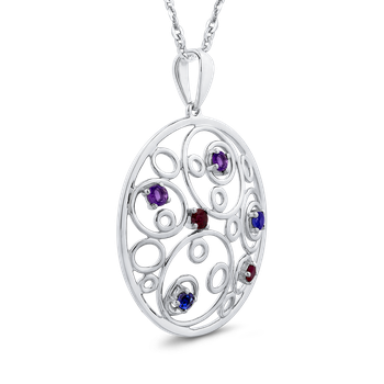 3/8 Ct Ruby + White & Blue Sapphire Circle Pendant with Chain