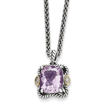 Sterling Silver w/14k Antiqued Pink Quartz and Diamond Necklace