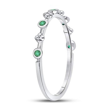 10kt White Gold Womens Round Emerald Dot Flower Stackable Band Ring 1/12 Cttw