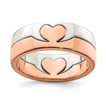 Sterling Silver Rose-tone Double Heart Ring