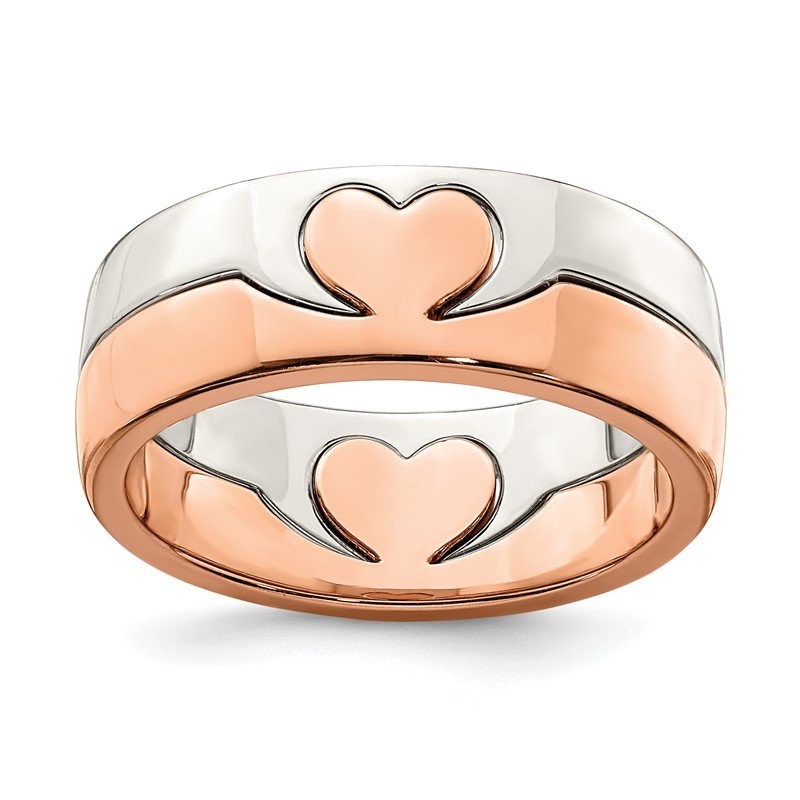 Quality Gold Sterling Silver Rose-tone Double Heart Ring