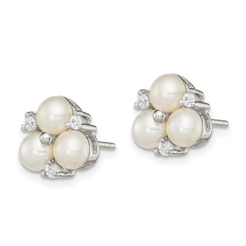 Sterling Silver RH 5-6mm White FW Cultured 3-Pearl CZ Post Earrings