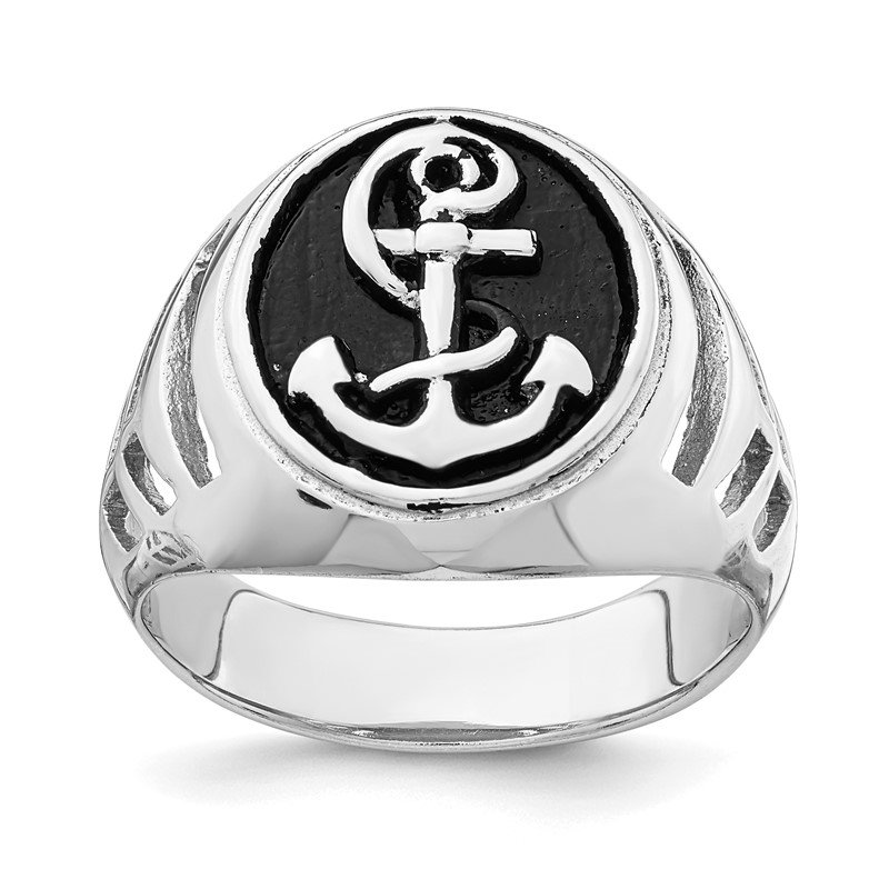 Quality Gold Sterling Silver Rhodium-plated & Antiqued Plated Anchor Ring