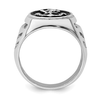 Sterling Silver Rhodium-plated & Antiqued Plated Anchor Ring