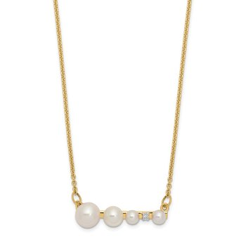 14k White Round FW Cultured Graduated Pearl Diamond Necklace